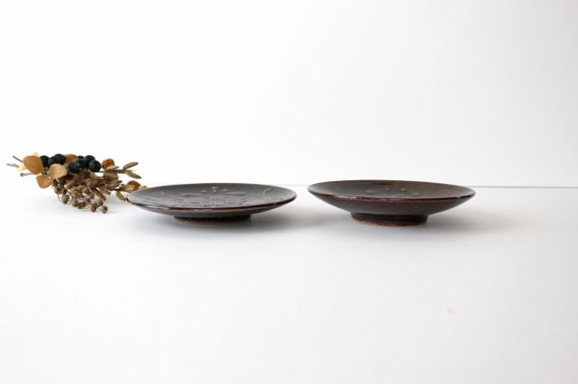 豆皿 4寸 アメ 陶器 櫻井薫 画像3