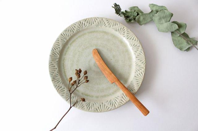 しのぎリム皿 6寸 青マット 陶器 櫻井薫