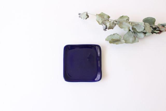 四角小皿 瑠璃 陶器 momone