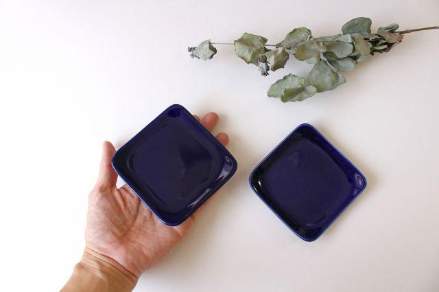 四角小皿 瑠璃 陶器 momone 画像3