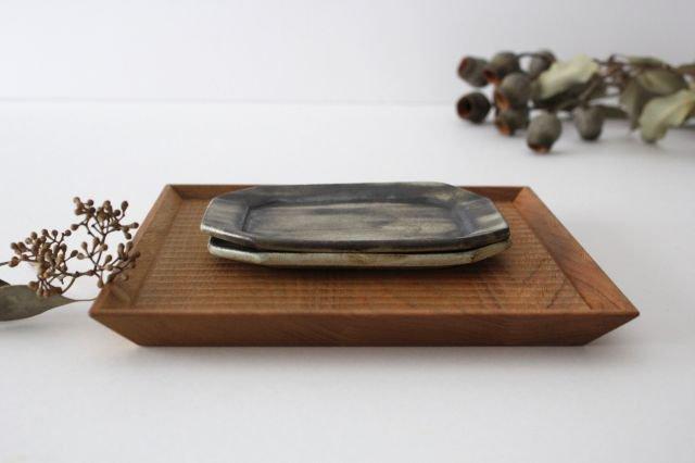 長八角皿 中 鉄錆 【B】 陶器 石井ハジメ 画像5