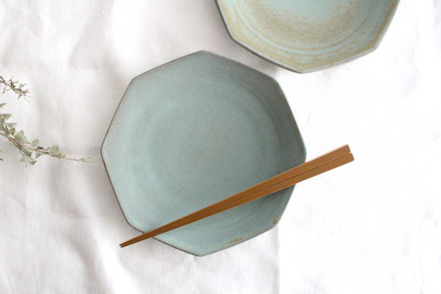 八角皿 薄荷 陶器 平沢佳子