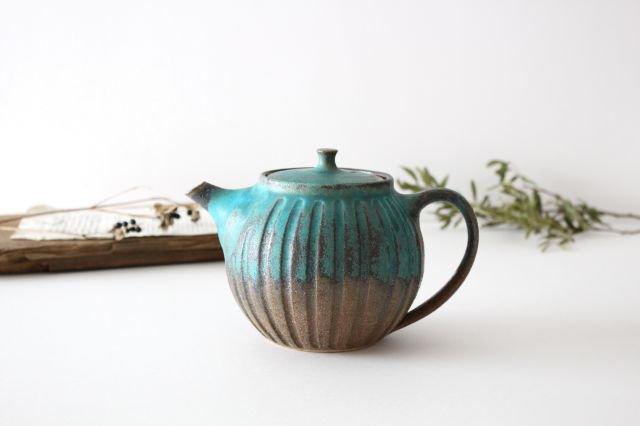丸ポット シャビーターコイズ 【A】 陶器 わかさま陶芸 益子焼