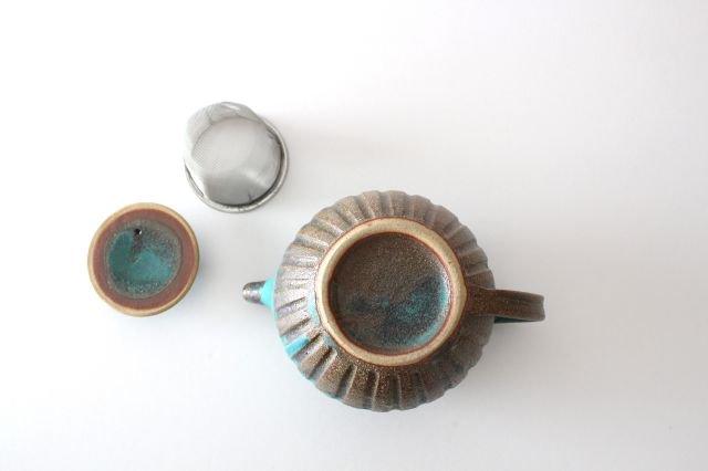 丸ポット シャビーターコイズ 【A】 陶器 わかさま陶芸 益子焼 画像5