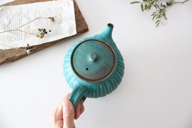 丸ポット シャビーターコイズ 【B】 陶器 わかさま陶芸 益子焼 画像4