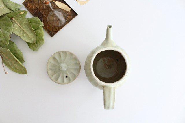 【一点もの】ポット 白 しのぎ 【A】 陶器 笠原良子 画像2