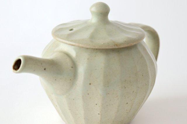 【一点もの】ポット 白 しのぎ 【A】 陶器 笠原良子 画像5