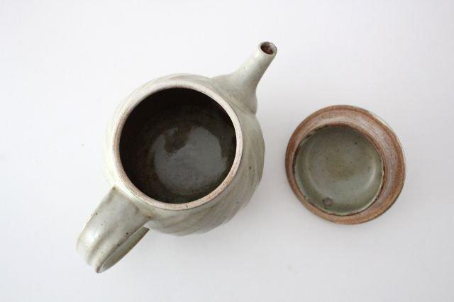 【一点もの】ポット 白 ななめしのぎ 【B】 陶器 笠原良子 画像5