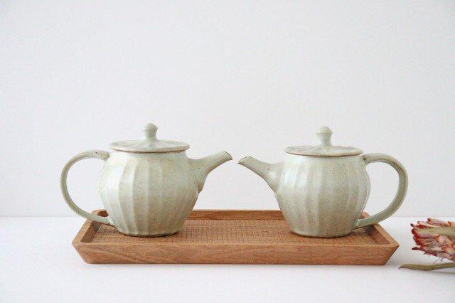 【一点もの】ポット 白 太しのぎ 【C】 陶器 笠原良子 画像4