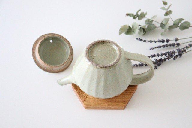 【一点もの】ポット 白 太しのぎ 【C】 陶器 笠原良子 画像6