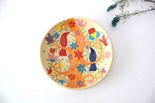 【一点もの】色絵付け丸皿 【I】 陶器 工房双子堂 やちむん商品画像