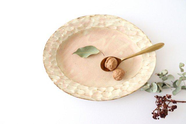 粉福 楕円リム皿 L 陶器 木のね