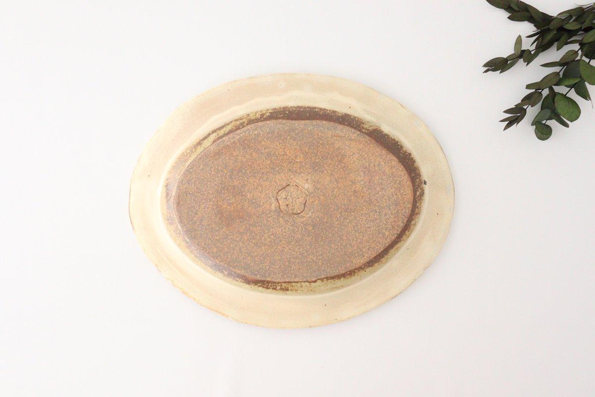 粉福 楕円リム皿 L 陶器 木のね 画像3