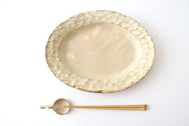粉福 楕円リム皿 L 陶器 木のね 画像6