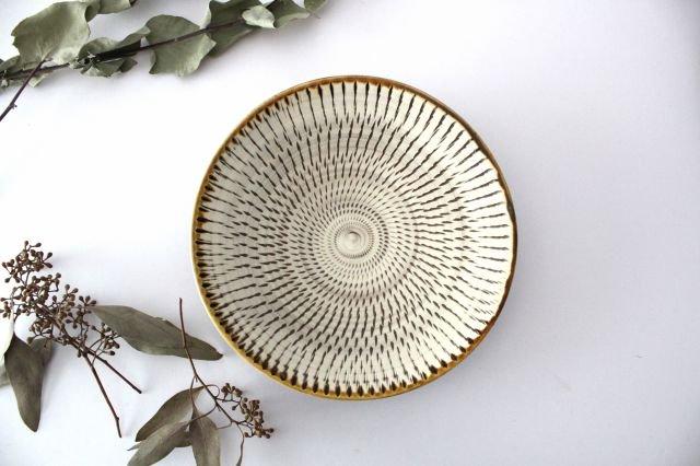 6寸皿 トビカンナ 陶器 小鹿田焼