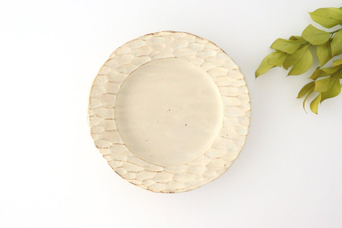 粉福 丸リム皿 L 陶器 木のね