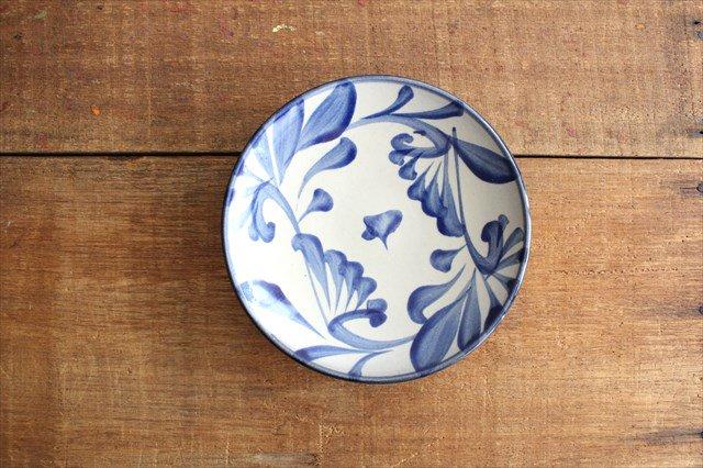 5寸皿 コバルト唐草 陶器 壷屋焼 陶眞窯 やちむん