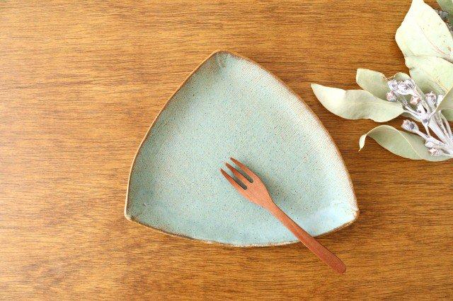 三角皿 青 陶器 宮崎和佳子