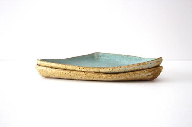 三角皿 青 陶器 宮崎和佳子 画像2