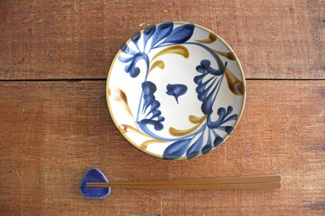 5寸皿 ゴス唐草 陶器 壷屋焼 陶眞窯 やちむん 画像2
