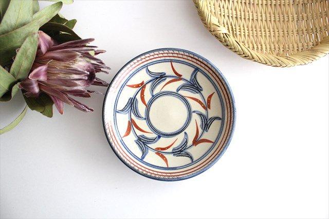 5寸皿 赤絵ブーゲンビリア 陶器 壷屋焼 陶眞窯 やちむん