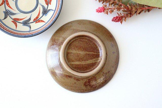 5寸皿 赤絵ブーゲンビリア 陶器 壷屋焼 陶眞窯 やちむん 画像2