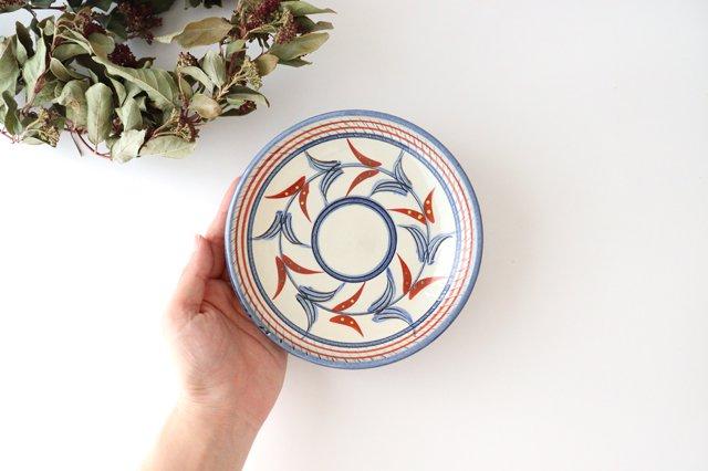 5寸皿 赤絵ブーゲンビリア 陶器 壷屋焼 陶眞窯 やちむん 画像3