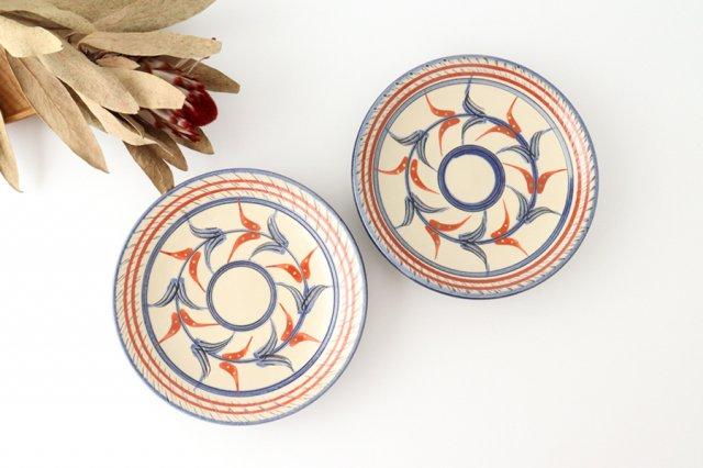 5寸皿 赤絵ブーゲンビリア 陶器 壷屋焼 陶眞窯 やちむん 画像5