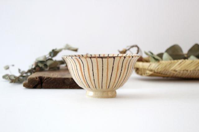 美濃焼 二色十草 反中平碗 橙 陶器