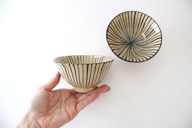 美濃焼 二色十草 反中平碗 青 陶器 画像2