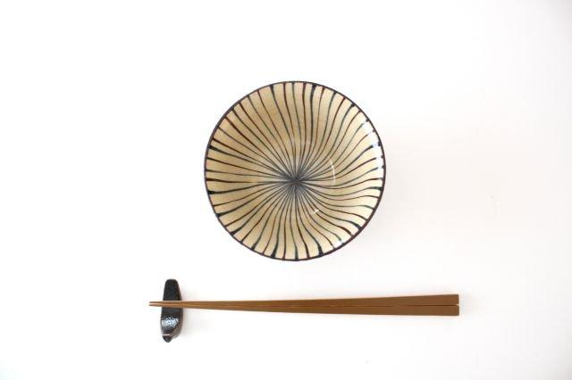 美濃焼 二色十草 反中平碗 青 陶器 画像3