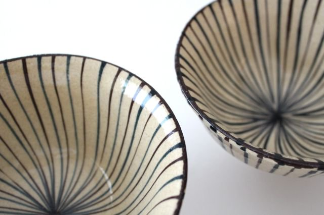 美濃焼 二色十草 反中平碗 青 陶器 画像4