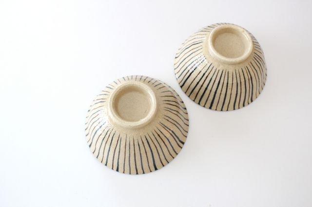 美濃焼 二色十草 反中平碗 青 陶器 画像5