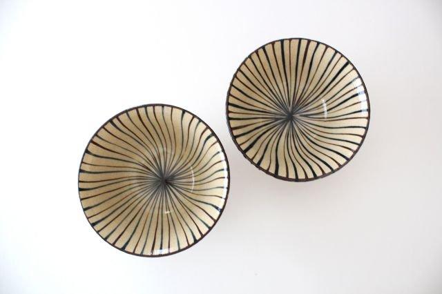 美濃焼 二色十草 反中平碗 青 陶器 画像6