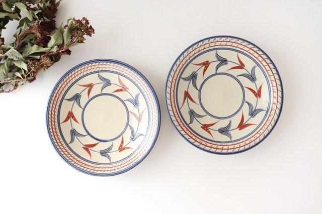 7寸皿 赤絵ブーゲンビリア 陶器 壷屋焼 陶眞窯 やちむん 画像2