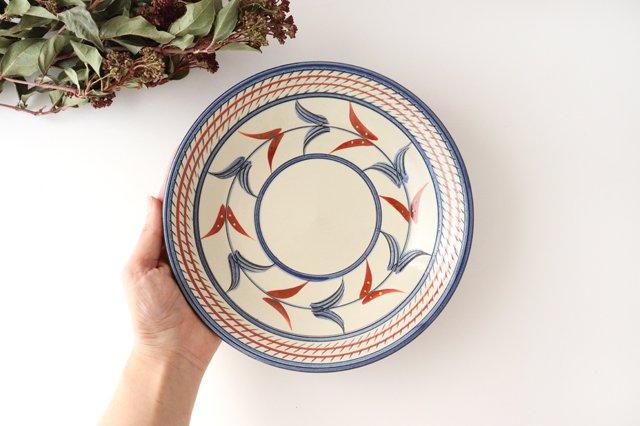 7寸皿 赤絵ブーゲンビリア 陶器 壷屋焼 陶眞窯 やちむん 画像5
