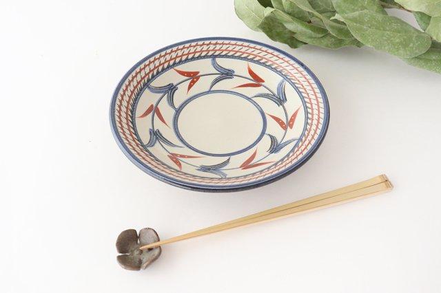 7寸皿 赤絵ブーゲンビリア 陶器 壷屋焼 陶眞窯 やちむん 画像6