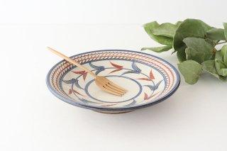 7寸皿 赤絵ブーゲンビリア 陶器 壷屋焼 陶眞窯 やちむん商品画像