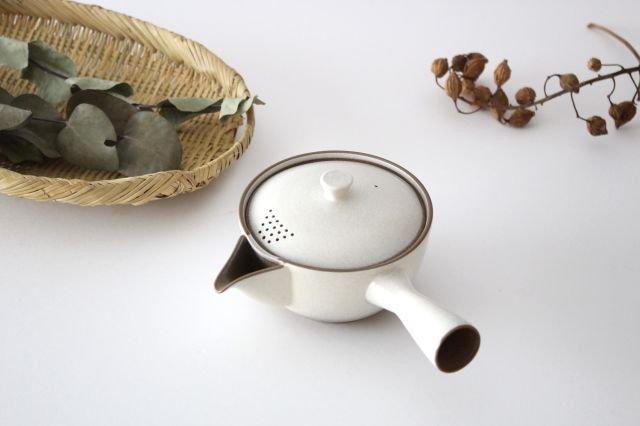 萬古焼 冠 急須 粉引き 陶器