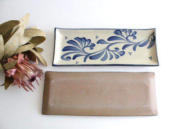 長角皿 コバルト唐草 陶器 壷屋焼 陶眞窯 やちむん 画像3