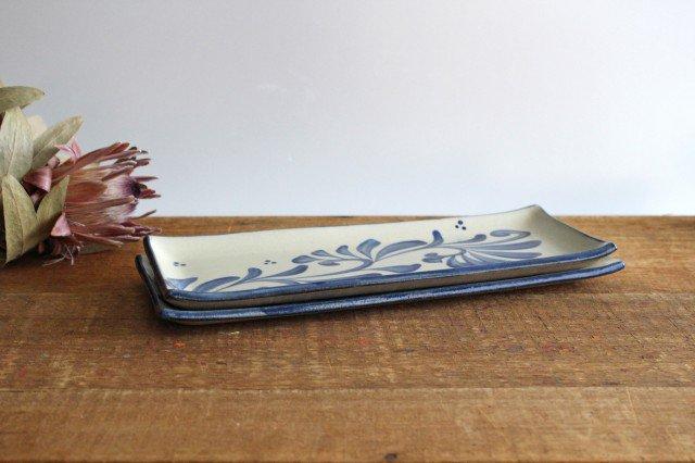 長角皿 コバルト唐草 陶器 壷屋焼 陶眞窯 やちむん 画像4