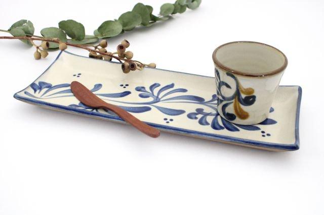長角皿 コバルト唐草 陶器 壷屋焼 陶眞窯 やちむん 画像5