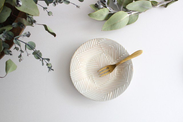波佐見焼 ORIME ヘリンボーン 4寸丸皿 【B】 ホワイト 陶器