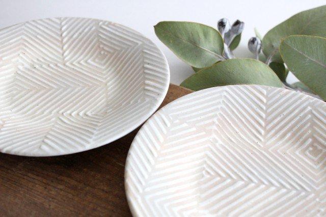 波佐見焼 ORIME ヘリンボーン 4寸丸皿 【B】 ホワイト 陶器 画像5