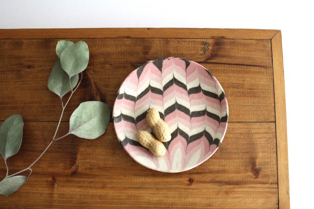 丸皿 小 羽根 ピンク 陶器 陶芸工房ももねり。 草なぎ桃江