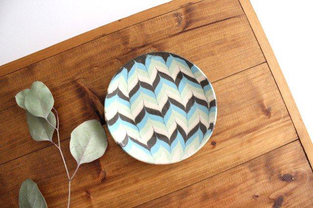 丸皿 小 羽根 水色 陶器 陶芸工房ももねり。 草なぎ桃江