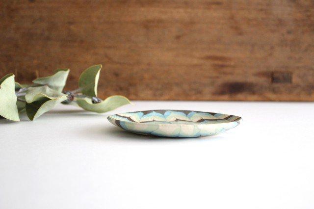 丸皿 小 羽根 水色 陶器 陶芸工房ももねり。 草なぎ桃江 画像2