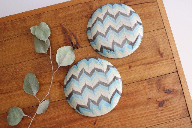 丸皿 小 羽根 水色 陶器 陶芸工房ももねり。 草なぎ桃江 画像3