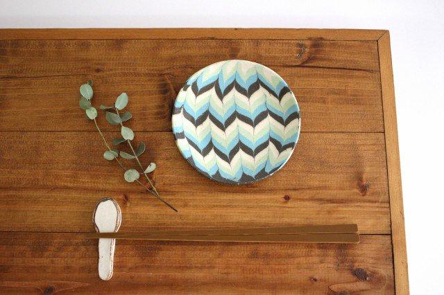 丸皿 小 羽根 水色 陶器 陶芸工房ももねり。 草なぎ桃江 画像4