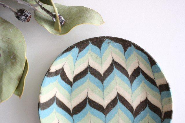丸皿 小 羽根 水色 陶器 陶芸工房ももねり。 草なぎ桃江 画像5